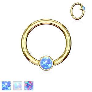 Piercing z oceli 316L, lesklý kroužek zlaté barvy se syntetickým opálem - Tloušťka x průměr x velikost kuličky: 1, 6 x 10 x 4 mm, Barva: Fialová obraz