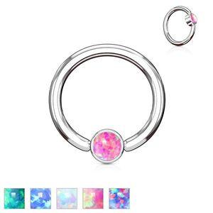 Piercing z oceli 316L stříbrné barvy, kroužek se syntetickým opálem - Tloušťka x průměr x velikost kuličky: 1, 2 x 8 x 3 mm, Barva: Fialová obraz