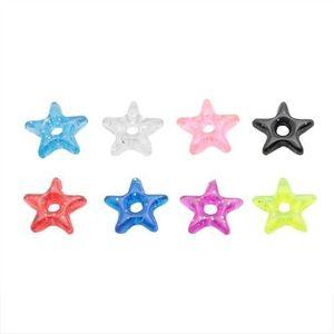 Přívěsek na piercing - barevná akrylová hvězdička s třpytkami - Barva: Fialová obraz