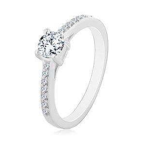 Zásnubní prsten ze stříbra 925, kulatý čirý zirkon, tenká zirkonová ramena - Velikost: 52 obraz