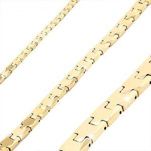Náramek z wolframu zlaté barvy, lesklé hladké články Y, magnetické kuličky obraz