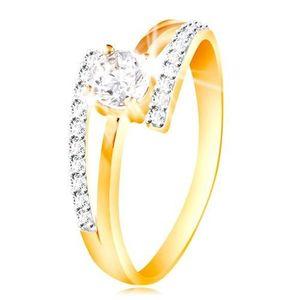 Prsten ze 14K zlata - rozdvojená ramena, vystouplý kulatý zirkon čiré barvy - Velikost: 60 obraz