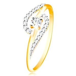 Prsten ze 14K zlata - čiré zirkonové oblouky, větší kulatý zirkon uprostřed - Velikost: 60 obraz