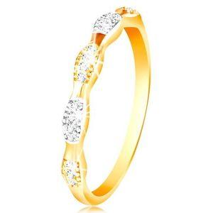 Prsten ve 14K zlatě - dvoubarevná zrnka se vsazenými zirkony, lesklá ramena - Velikost: 58 obraz