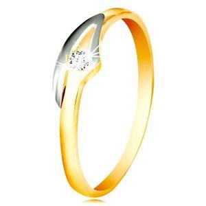 Prsten ve 14K zlatě se zirkonem čiré barvy, dvoubarevná ramena - Velikost: 58 obraz