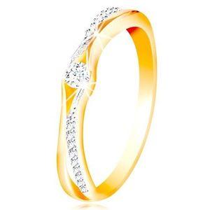 Zlatý 14K prsten, rozdělená ramena ze žlutého a bílého zlata, čiré zirkony - Velikost: 60 obraz