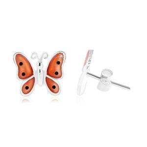 Stříbrné 925 náušnice, motýl s oranžovými glazovanými křídly obraz