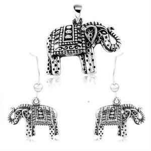 Stříbrný 925 set, náušnice a přívěsek, gravírovaný slon s černou patinou obraz