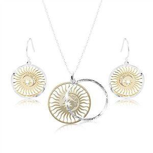 Set ze stříbra 925, zdvojený kruh - slunce, měsíc a hvězda obraz