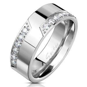 Prsten z oceli 316L, stříbrná barva, linie čirých zirkonů, 8 mm - Velikost: 70 obraz