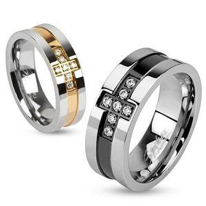 Ocelový prsten se zirkonovým křížem a pásem černé barvy, 8 mm - Velikost: 59 obraz