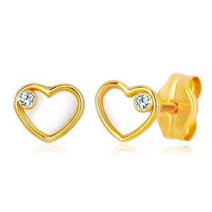 Náušnice ze žlutého zlata 585 - srdce s přírodní perletí a zirkonem obraz