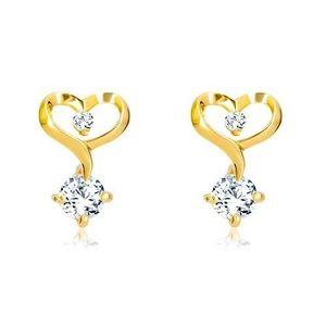 Briliantové náušnice ve 14K žlutém zlatě - kontura srdce s diamanty obraz