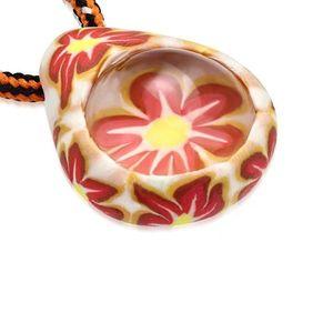 Náhrdelník s trojbarevnou šňůrkou - FIMO slza, kvítky, transparentní kulička obraz