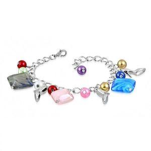 Náramek - lesklý řetízek, lodičky, barevné syntetické perličky a korálky obraz
