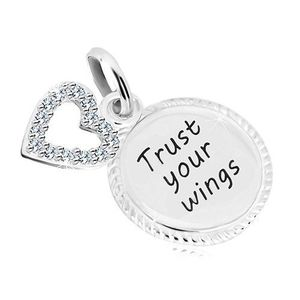 """Stříbrný 925 přívěsek - kroužek s nápisem """"Trust your wings"""", kontura srdce se zirkony obraz"""