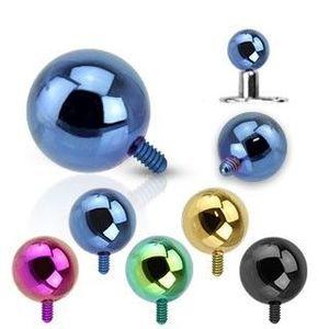 Kulička do implantátu z oceli 316L - anodizovaný povrch, různé barvy, 4 mm - Barva piercing: Modrá obraz