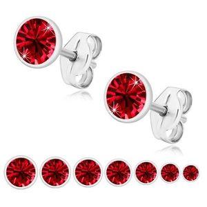 Stříbrné 925 náušnice - zářivý rubínově červený zirkon, lesklá objímka - Velikost zirkonu: 3 mm obraz