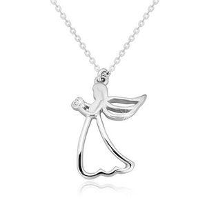 Stříbrný 925 náhrdelník - vyřezávaný anděl se srdíčkem, čirý diamant obraz