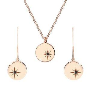 Stříbrný set 925 růžovozlaté barvy - náhrdelník a náušnice, kruh s Polárkou, černý diamant obraz