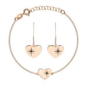 Stříbrný set 925, růžovozlatý odstín - náramek a náušnice, srdce s Polárkou a diamant obraz