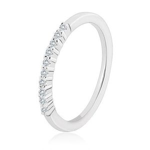 Prsten ze stříbra 925 - třpytivá linie transparentních zirkonů, úzká ramena - Velikost: 56 obraz