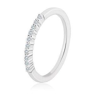 Prsten ze stříbra 925 - třpytivá linie transparentních zirkonů, úzká ramena - Velikost: 58 obraz
