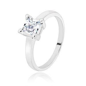 Stříbrný 925 prsten - úzká ramena, transparentní zirkonový čtverec, 5 mm - Velikost: 52 obraz