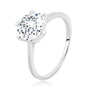 Stříbrný prsten 925 - úzká ramena, trojúhelníky a transparentní zirkon, 8 mm - Velikost: 60 obraz