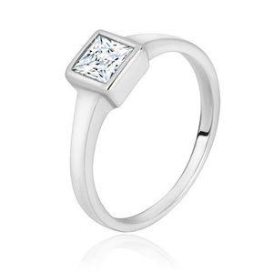Stříbrný prsten 925 - úzká lesklá ramena, transparentní zirkonový čtverec - Velikost: 58 obraz