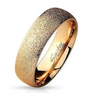 Ocelový prsten růžovozlaté barvy - pískovaný povrch s třpytivými odlesky, 6 mm - Velikost: 49 obraz