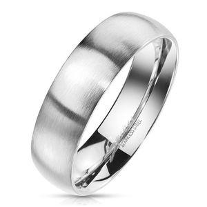 Prsten z oceli ve stříbrném barevném odstínu - matný povrch, 6 mm - Velikost: 67 obraz