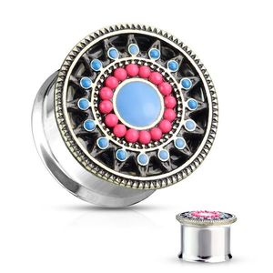 Ocelový plug do ucha stříbrné barvy - květ s růžovými a modrými okvětními lístky - Tloušťka : 12 mm obraz