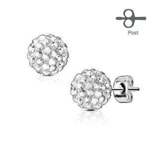 Ocelové náušnice - kulička s drobnými třpytivými krystalky, 5 mm - Barva: Čirá obraz