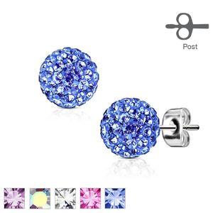 Puzetové náušnice z oceli ve stříbrné barvě - kulička s třpytivými krystalky, 8 mm - Barva: Modrá obraz