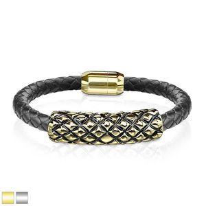 Černý kožený náramek - váleček se šupinkami s černou patinou, magnetické zapínání - Barva: Zlatá obraz