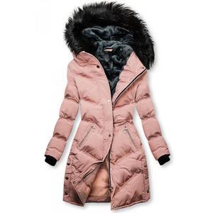 Růžová prošívaná zimní bunda obraz