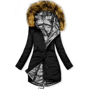 Černo-stříbrná oboustranná zimní bunda obraz