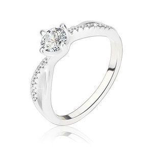 Zásnubní prsten, stříbro 925, zvlněná propletená ramena, čirý zirkon - Velikost: 58 obraz