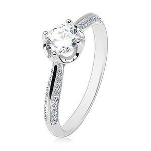Zásnubní prsten ze stříbra 925, vypouklá zdobená ramena, čirý kulatý zirkon - Velikost: 54 obraz