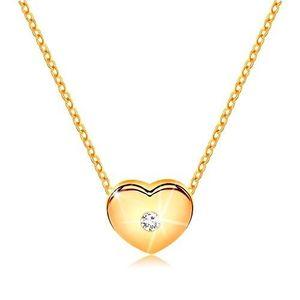 Briliantový náhrdelník ze žlutého 14K zlata - srdíčko s čirým diamantem, řetízek obraz