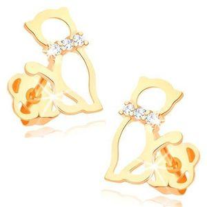 Náušnice ve žlutém 14K zlatě - obrys kočky s diamantovým obojkem obraz