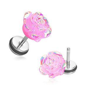 Fake plug z akrylu - rozkvetlá růže růžové barvy s duhovými odlesky obraz