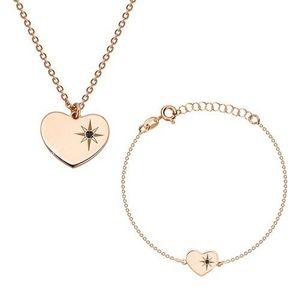 Stříbrný 925 set růžovozlaté barvy - náramek a náhrdelník, srdce s Polárkou a diamantem obraz
