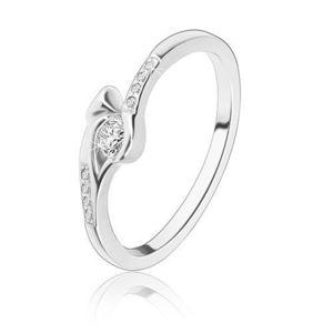 Stříbrný prsten 925 - kulatý čirý zirkon, úzká ramena se zirkony, šíp - Velikost: 54 obraz