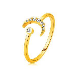 Prsten ze 14K zlata - měsíc ozdobený zirkony, kulatý zirkon v objímce, otevřená ramena - Velikost: 58 obraz