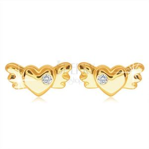 Diamantové náušnice ze 14K žlutého zlata - srdíčko s křídly a briliantem čiré barvy obraz