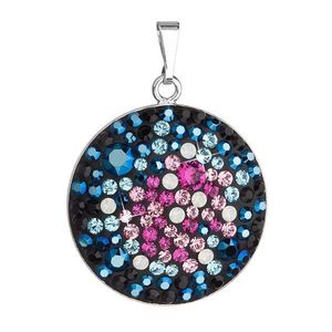 Evolution Group Stříbrný přívěsek s krystaly Swarovski mix barev modrá růžová kulatý 34131.4 galaxy obraz