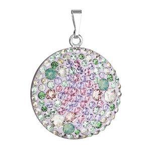 Evolution Group Stříbrný přívěsek s krystaly Swarovski mix barev fialová zelená růžová kulatý 34131.3 obraz