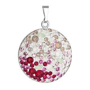 Evolution Group Stříbrný přívěsek s krystaly Swarovski mix barev červené kulatý 34131.3 obraz